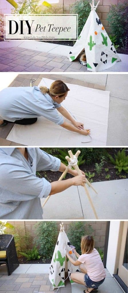 9. DIY PET TEEPEE
