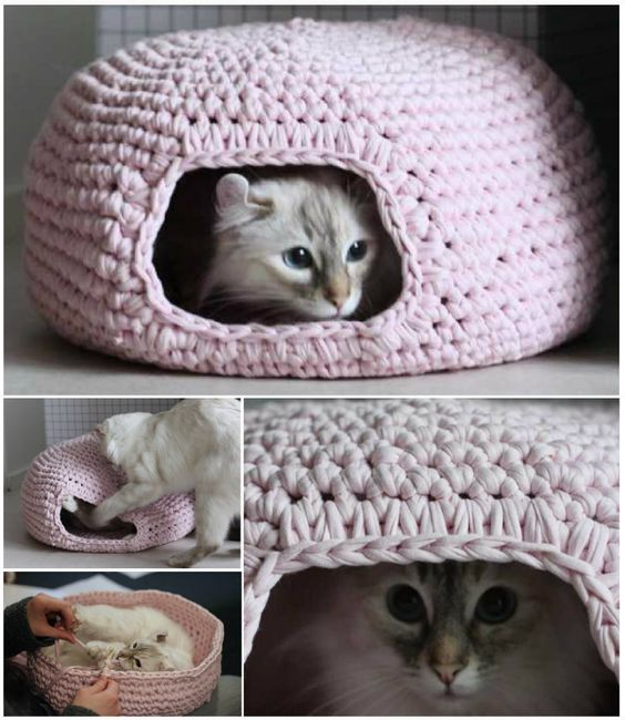 Crocheting a cat tent is not an easy task but your cat will surely love it. & 15 Super Fun DIY Cat Tent Ideas to Pursue - Homesthetics ...