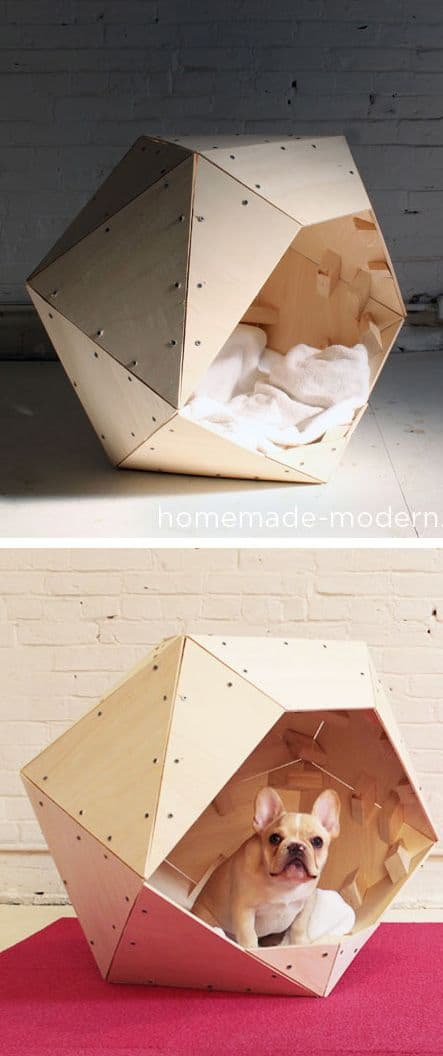 20. WOODEN GEOMETRIC DOG BED