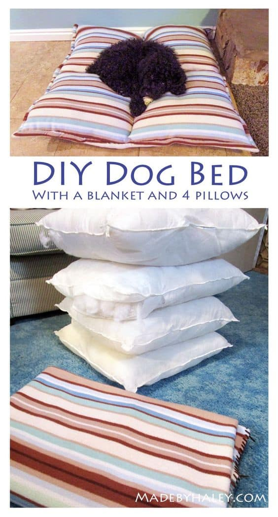 14. BLANKET AND PILLOWS DIY DOG BED