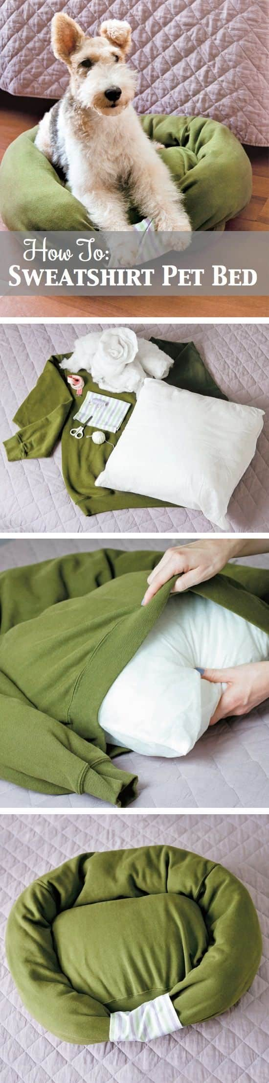 8. DIY SWEATSHIRT PET BED