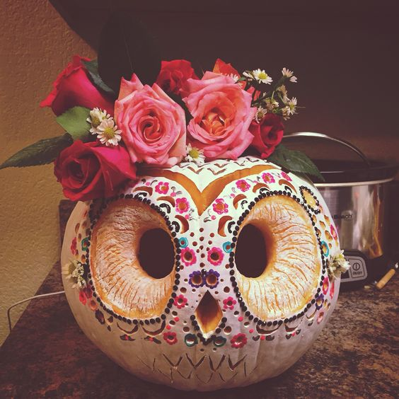 111 cool and spooky pumpkin carving ideas to sculpt Flower painted pumpkins