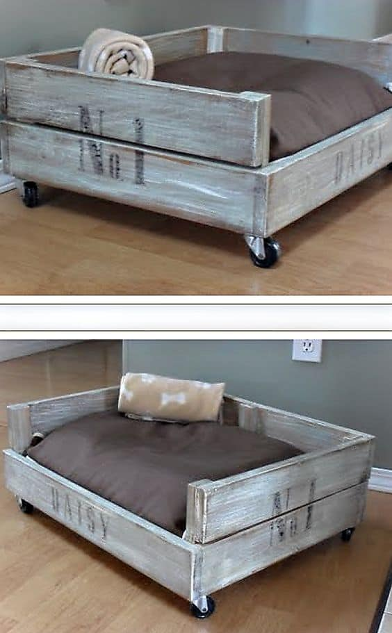 1. SHABBY CHIC CRATE DOG BED
