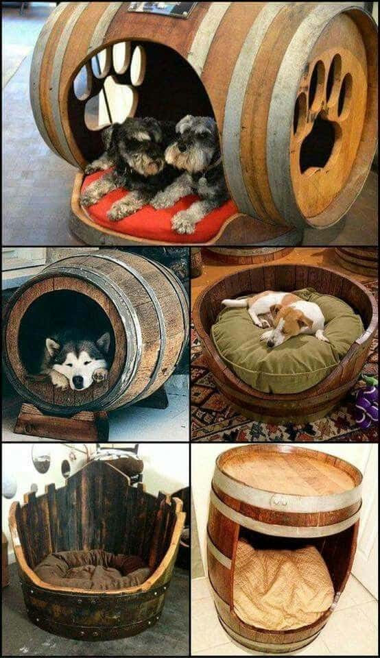 15. DIY BARREL DOG BEDS