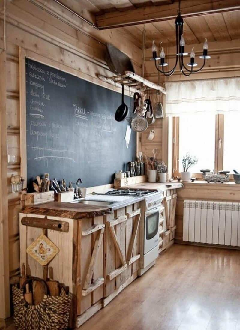 24. Naturally-hewn wooden countertops