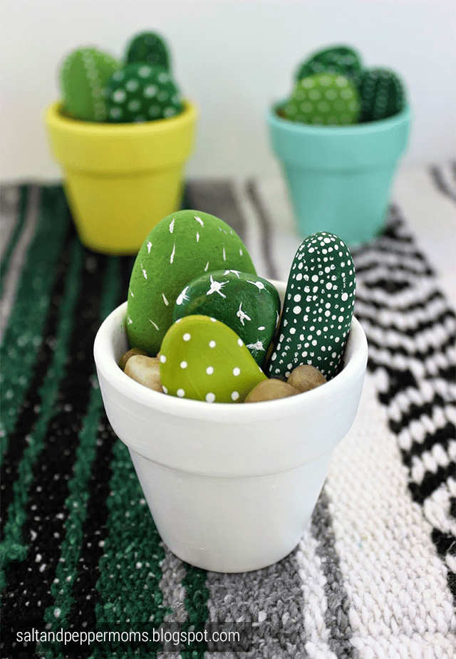 22. ADORABLE PAINTED ROCKS AS FAUX CACTI