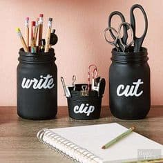 14. CREATE DESK MASON JAR ORGANIZERS