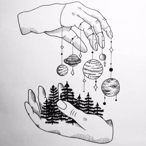 two hands holding the earth and the universe
