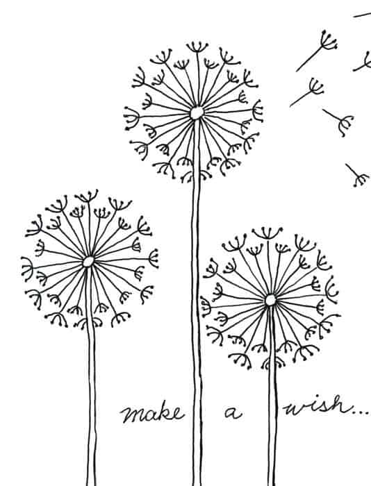 2D dandelion drawing inviting you to make a wish