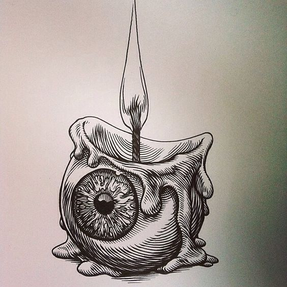 eyeball candle drawing burning life