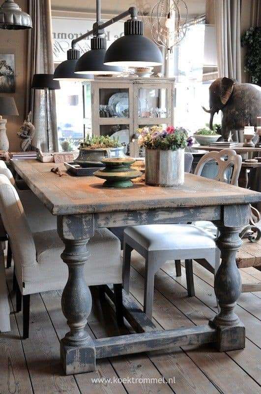 Stunning  old wooden table emphasizes a chic setting