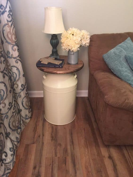 5.COMBINING WOOD WITH METAL-FANCY MILK CAN END TABLE