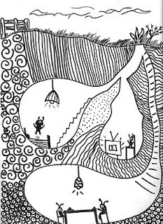 abstract drawing of an underground world as a refuge