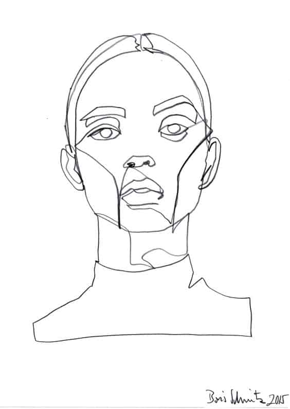 GRAPHITE FACE CONTINUOUS DRAWING