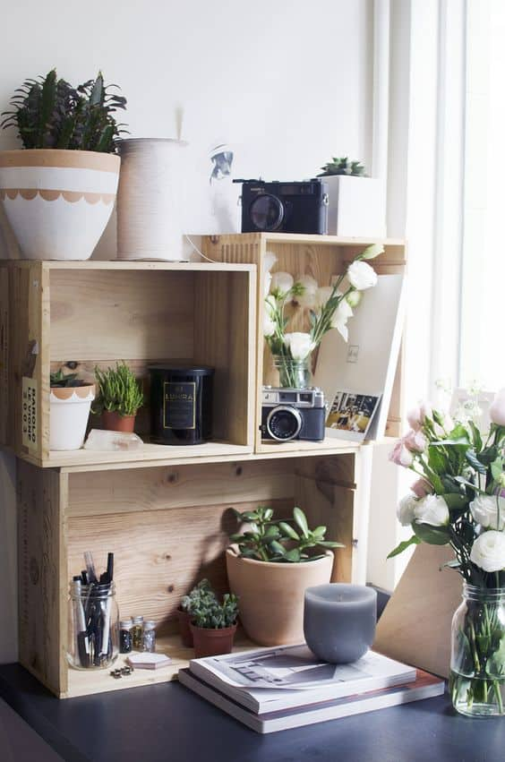 wooden boxes shelving