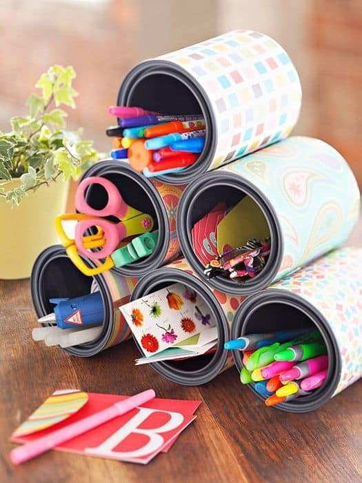 24. COLORFUL TIN CAN ORGANIZERS