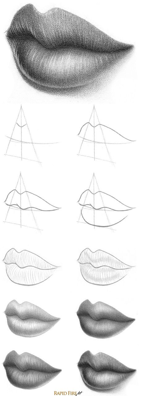 LIPS DRAWING STEP BY