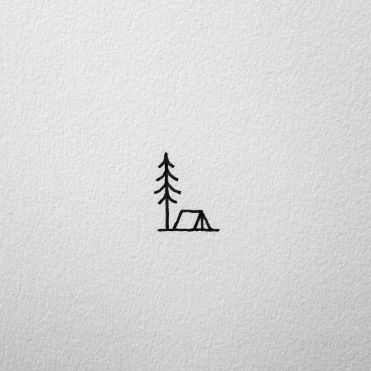 small ten and pine tree drawing