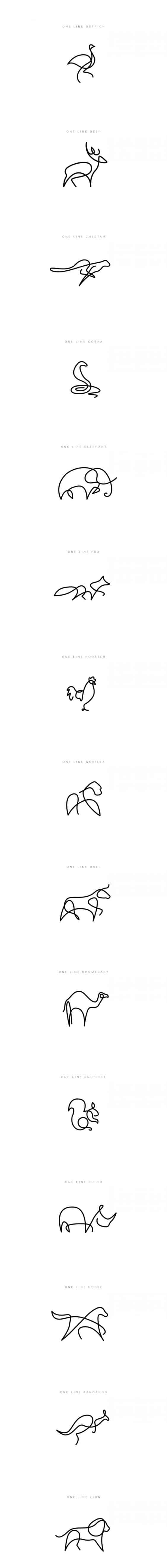 ANIMALS PORTRAITS SIMPLIFIED TO ONE LINE