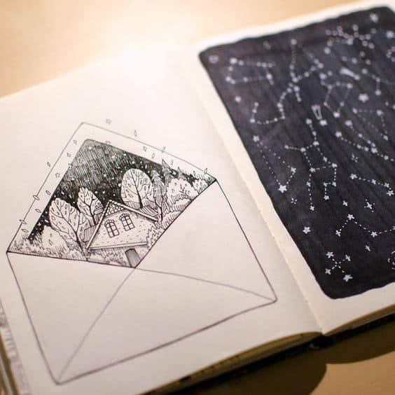 LOVELY NIGHTTIME LANDSCAPE DRAWING