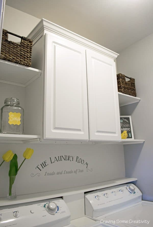 Craving Some Creativity Laundry Room Cabinet and Shelves