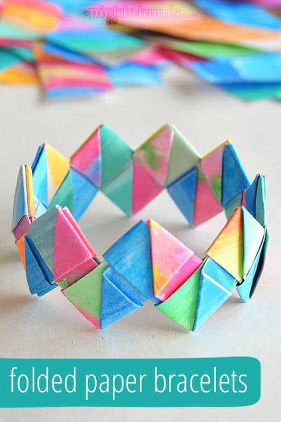 42. COLORFUL DIY FOLDED PAPER BRACELETS AND CROWNS