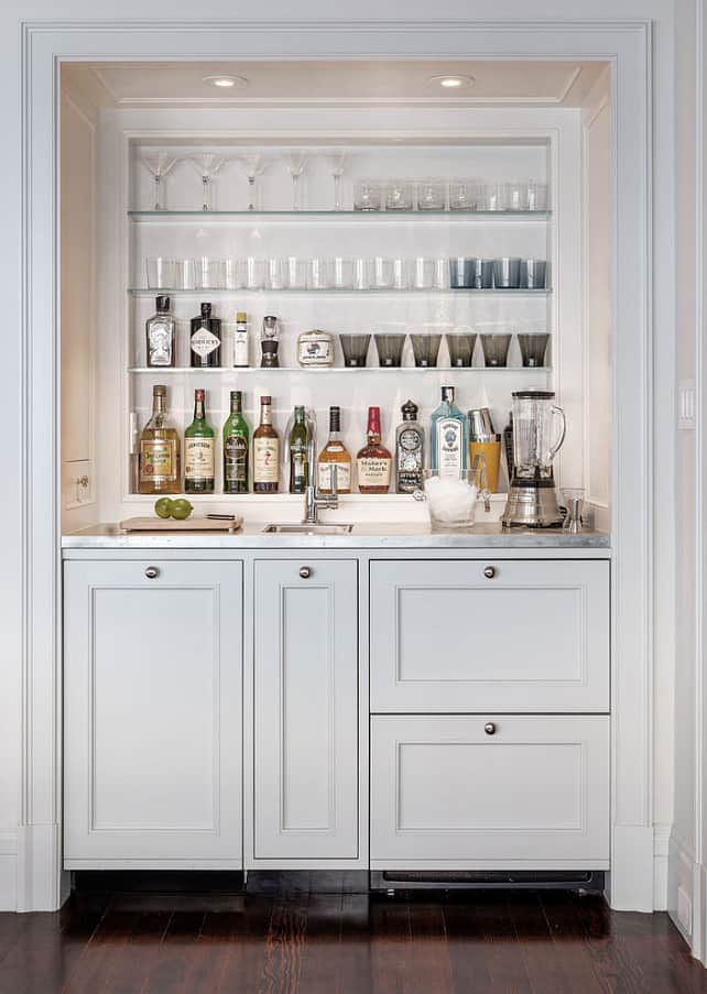 APPEALING BUILT IN WALL WHITE BAR