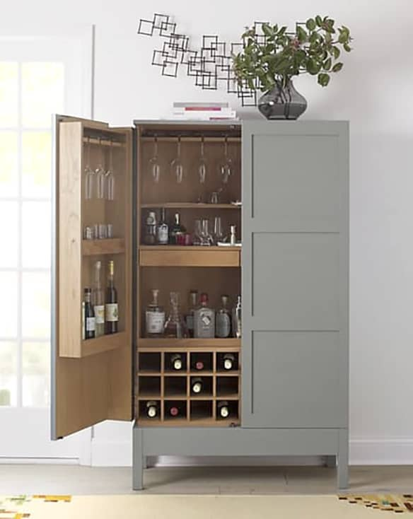22. Get A Smooth White Cabinet For A Discreet Bar