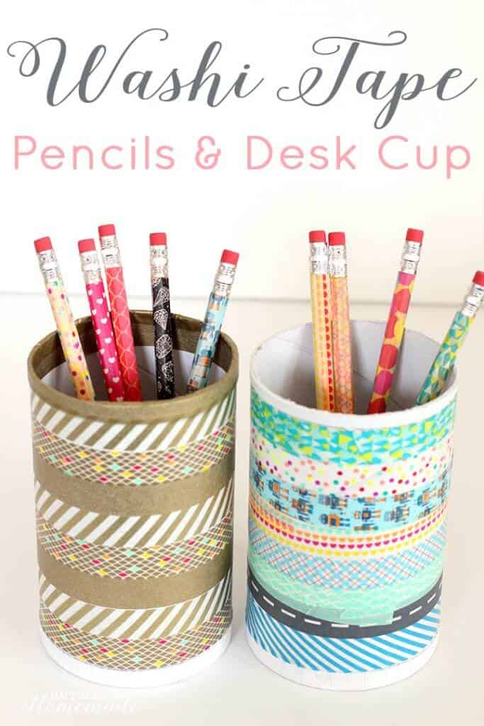 13. EPIC WASHI TAPE DESK CUP AND PENCILS