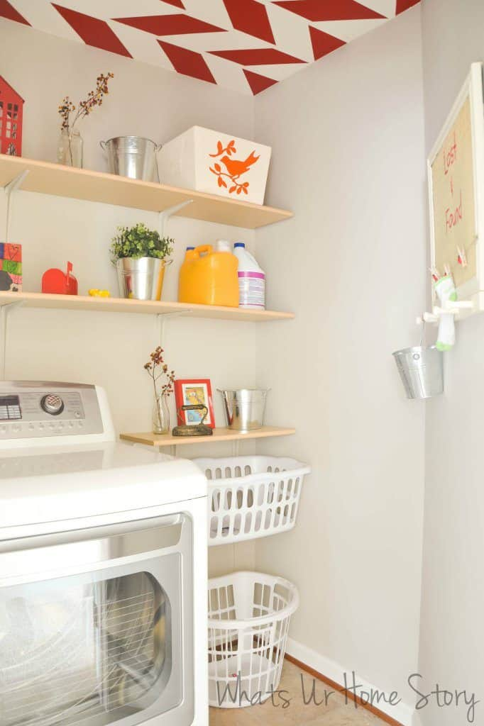 Whats Ur Home Story Laundry room with red accents