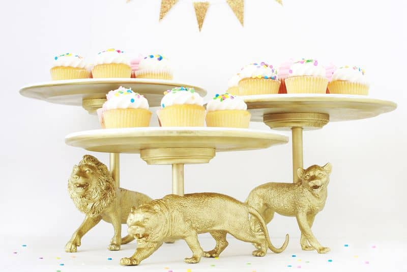 33. WILD CAT DIY CAKE STANDS SERVING COLORFUL SWEETS