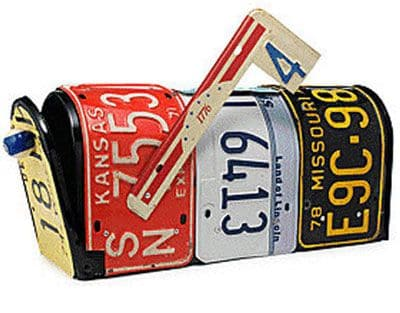 42. RECYCLE OLD NUMBER PLATES INTO AN EPIC MAILBOX