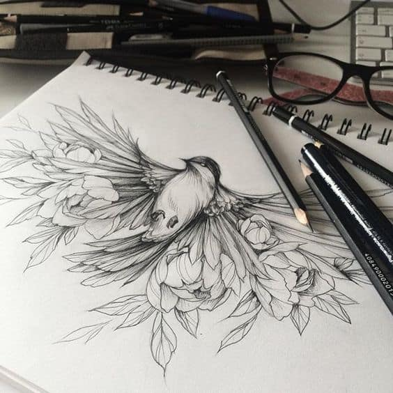 STUNNING BIRD TATTOO DRAWING