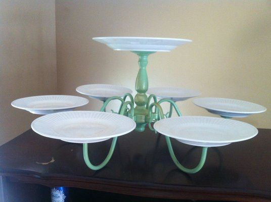 8. OLD CHANDELIER AND PLATES Cake Stand