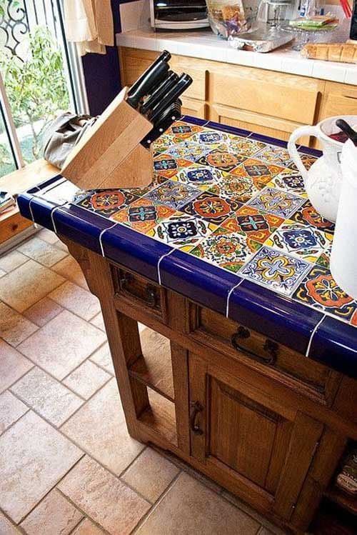 Marvelous 17. Intricate Colorful Bar Top