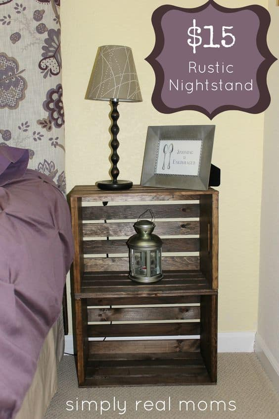 12. RUSTIC WOODEN BOXES NIGHTSTAND