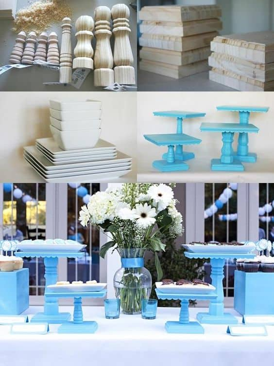 2. BABY BLUE Cake Stands