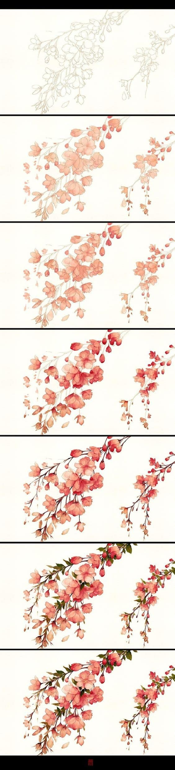 WATERCOLOR TREE SPRING BLOSSOMS