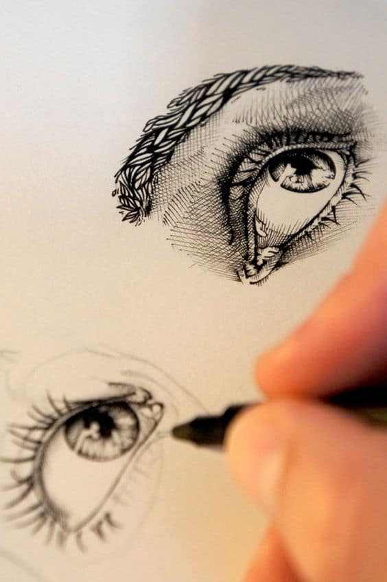 realistic drawing of two eyes