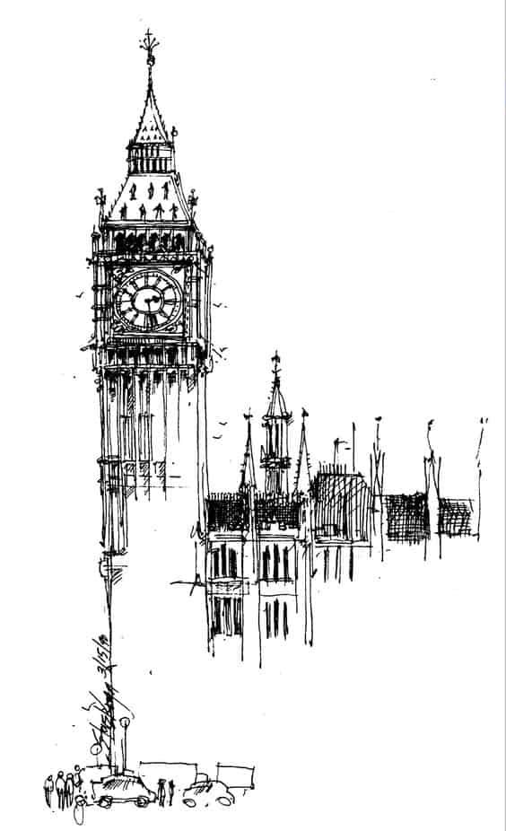 THE BIG BEN TOWER SKETCHED
