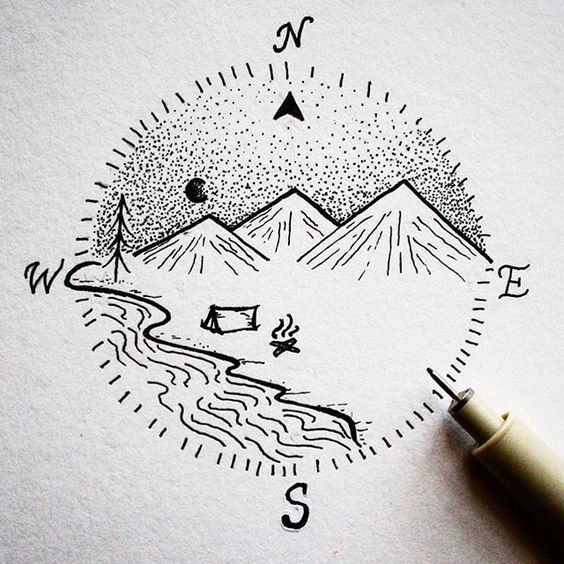 WONDERFUL MOUNTAIN MINI LANDSCAPE DRAWING