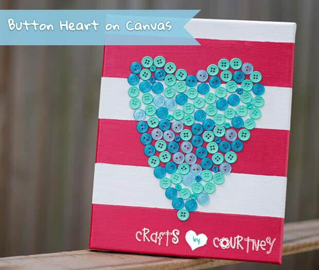 32. BUTTON HEARTS ON A CANVAS