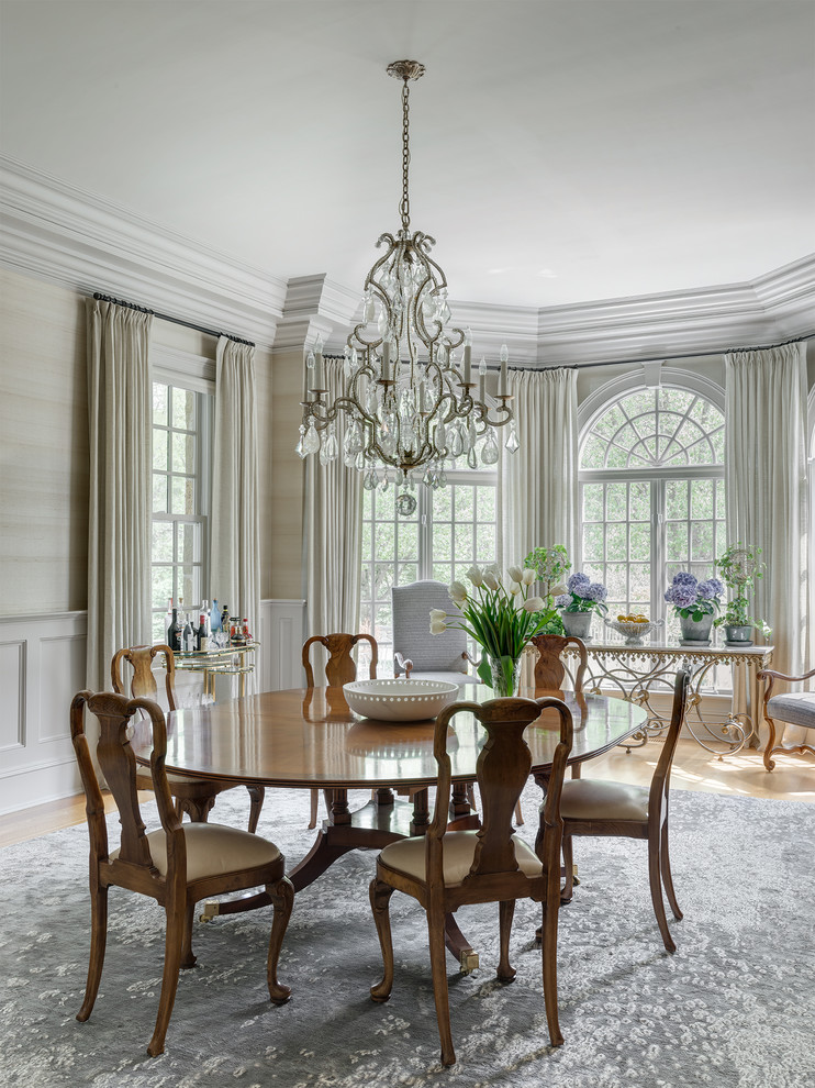 Formal Dining Room Looking Out Onto A Bucolic Garden And Patio For Entertaining