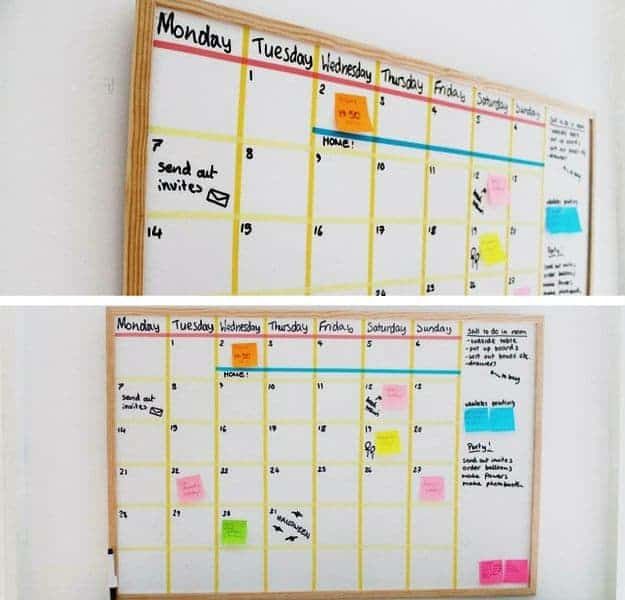 20 awesome back to school diy ideas that you have to try keep yourself on schedule with this chic diy whiteboard calendar solutioingenieria Image collections