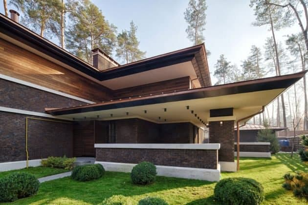 Inspired by F. L. Wright Yunakov Architecture Designed The Prairie House in Kiev 14