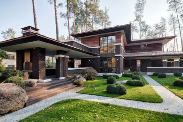Inspired by F. L. Wright Yunakov Architecture Designed The Prairie House in Kiev 8