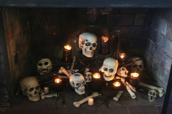 123. DECORATE YOUR FIREPLACE WITH BONES AND SKULLS