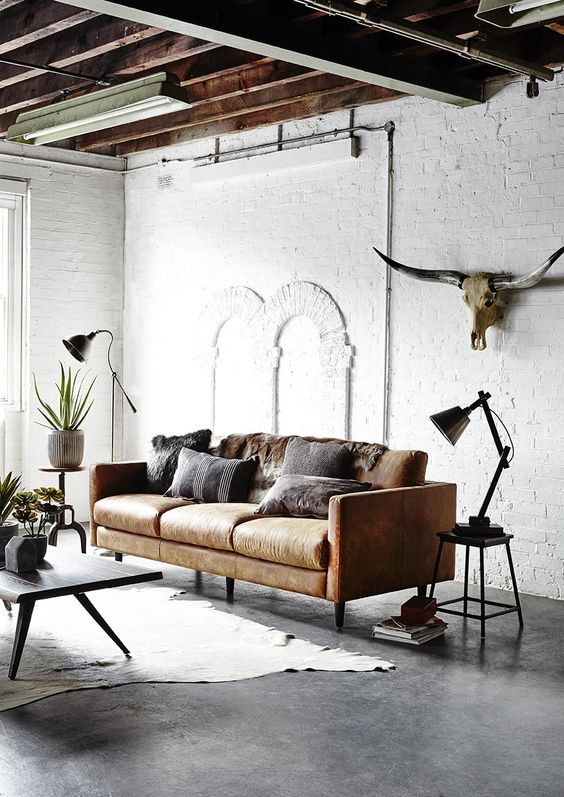 leather sofa in industrial interior design