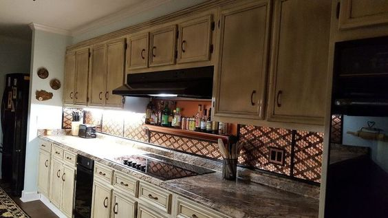 penny backsplash uses two tones of copper - Penny Backsplash Model