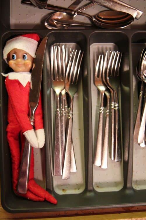 2. Elfie Helping with the Cutlery Elf on the Shelf Ideas